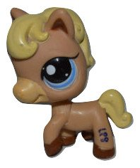 (Littlest Pet Shop Rare Horse Pony Tan with Blonde Mane No Saddle Blue Eyes #1605 Replacement Part LOOSE/Packaged in Parts Bag)