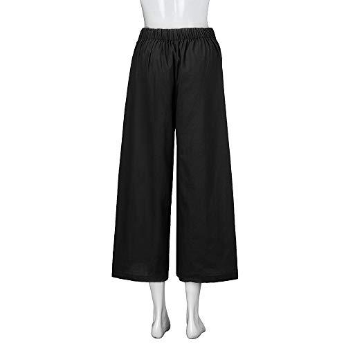 Nero Pantalone taglie Pantaloni Unita Mambain Svago tinta baggy lino Forti Da Donna kz2 wAw7TqR