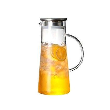 Kbsin212 Jarra de Agua de Cristal Transparente Resistente al Calor, Botella de Vidrio frío con
