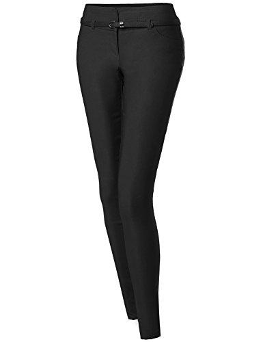Basic Office Slim Tummy Control Stretch Full Length Belt Pants Black Size S