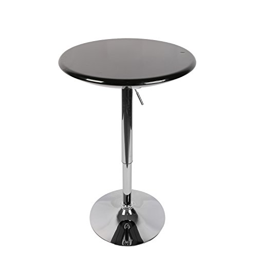 LCH Adjustable 360 Swivel Dining Bar Table Modern Round Kitchen Home Bar Furniture ABS Top Bistro Pub Table with Chromed Base (Black)