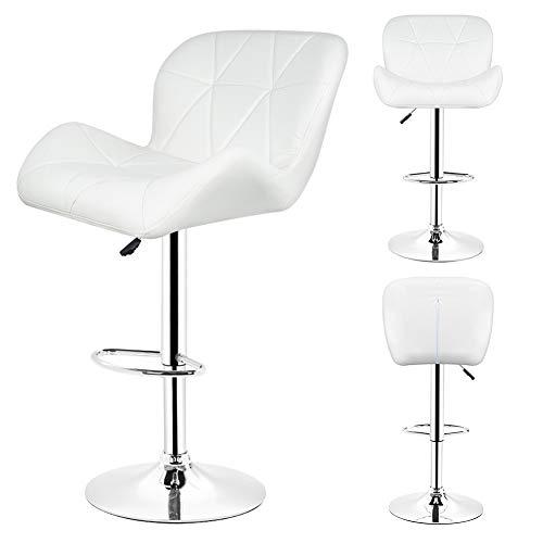 KOUPA Conjunto de 2 taburetes de Bar Ajustables, sillas giratorias de Taburete con Respaldo de Cuero PU, para exposiciones, Salones, restaurantes y Bares