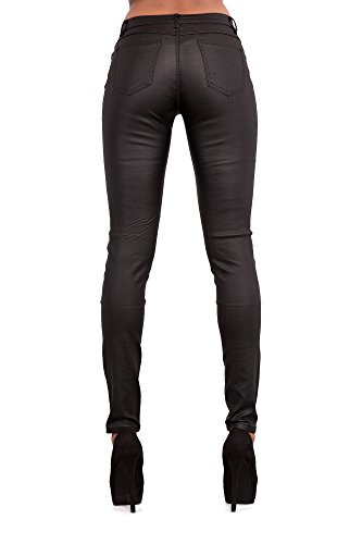 Lustychic Black Jean Look Leather Jeans Donna rrqfS