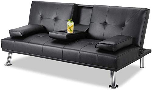 Suwikeke, Faux Leather Fold Up and Down Futon Convertible Sofa Bed with Armrest Recliner Couch Home Furniture,Black
