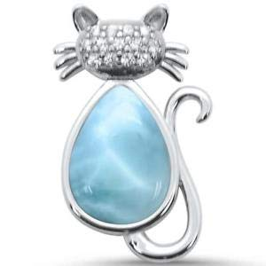 925 Sterling Silver Natural Larimar Gemstones Cross Women/'s Necklace Pendant