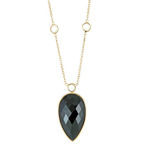 Lavari - 23x13 Pear Shaped Black Onyx with 7 Rose Cut Stations 14K Yellow Gold Pendant