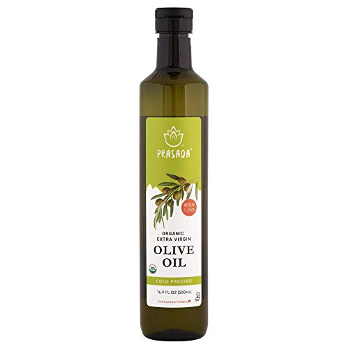 Prasada Extra Virgin Olive Oil, Organic (500ml) -Cold Pressed, Non-GMO, BPA-Free Food-Grade Plastic Bottle | Excellent for Stir-Frying, Sauteing and Dressings ()