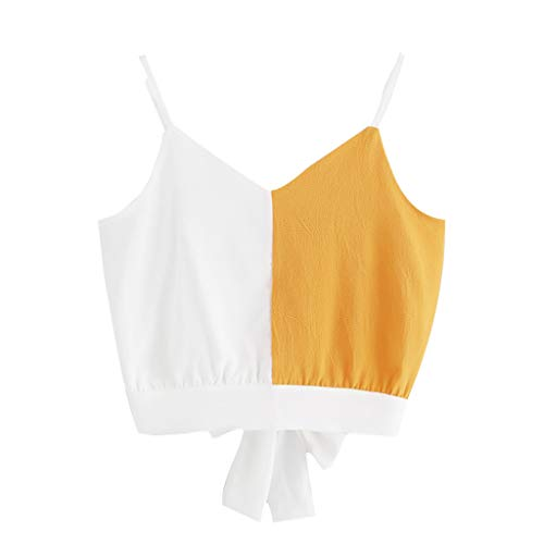 Colorblock Bow - Aunimeifly Women's Colorblock V-Neck Bow Back Strappy Stitching Contrast Sling Patchwork Top Shirt Yellow