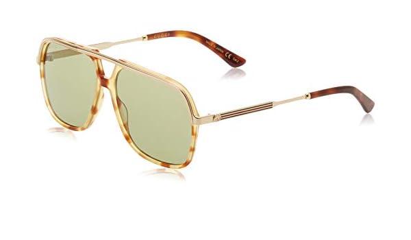 bcbc0f85680 Amazon.com  Gucci Green Sunglasses GG0200S 003 57  Clothing
