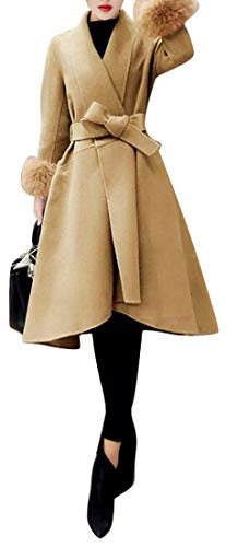 Fubotevic Women Winter Belted Solid Color Regular Fit Wool Wlend Trench Peacoat Overcoat Camel XL