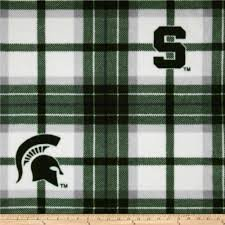 - College Plaid Michigan State University Spartans Fleece Fabric Print by The Yard