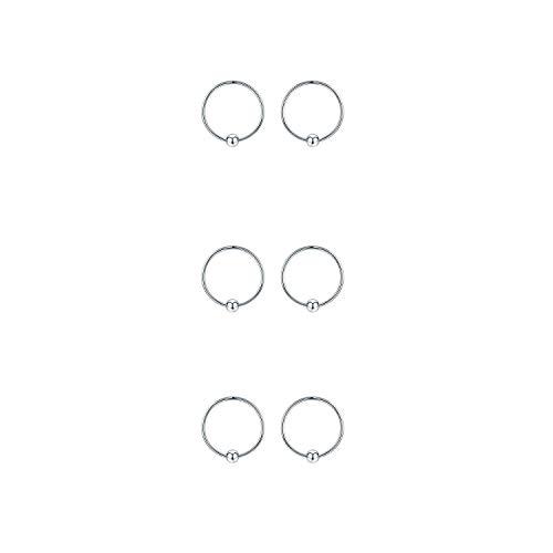 Sterling Silver Cartilage Earrings Silver/Gold/Black Dainty Thin Small Hoop Earring Hypoallergenic Mini/Tiny Huggie Hoops 10/12/14mm Ear Piercing Endless Ball Bead Nose Sleeper for Women (Silver-10mm)