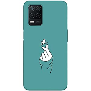 SharpEseller Blue Hand Heart Printed Soft Designer Mobile Back Cover for Realme 8 5G