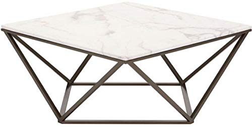 Zuo Modern 100657 Tintern Coffee Table, Stone and Antique Brass, Square Marble-like Top, Architecturally Inspired Base, Modern Open-air Design, 150 lbs Weight Capacity, Dimensions 36