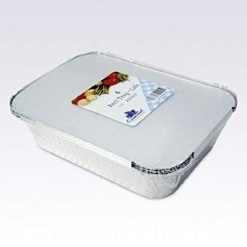 Essential Housewares Pack Of 4 Rectangular 260Cm X 190Cm X 56.5Cm Foil Tray With Lid
