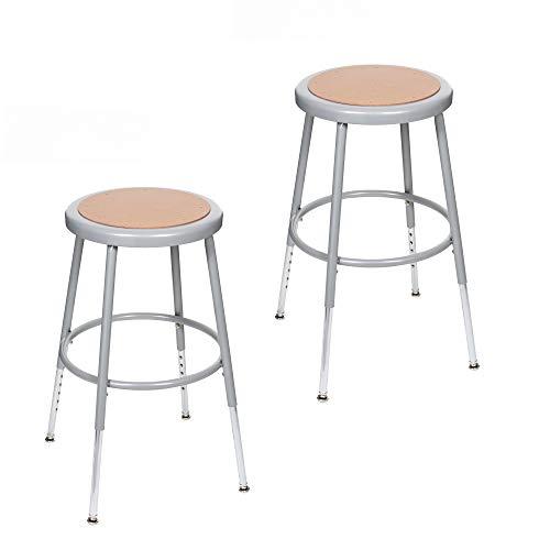 - (2 Pack) OEF Furnishings Height Adjustable Grey Shop Stool, 18-27