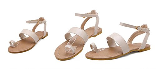 SHFANG Ladies Sandalias Verano Set dedo del pie ocio Velcro Beach Dew Toe Una palabra Correa tres colores Beige