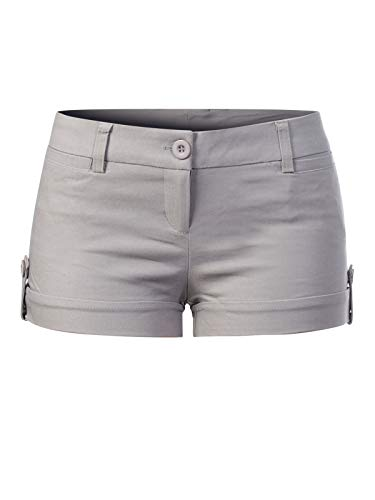 Instar Mode Women's Juniors Body Enhancing Ripped Hole Mini ShortsL, Ipaw042 Silver
