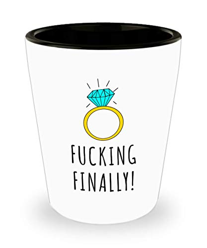 Im Engaged Shot Glass Fucking Finally Engagement Gift for Her Proposal Gift Bride To Be Future Mrs Fiance Ceramic Shot Glasses