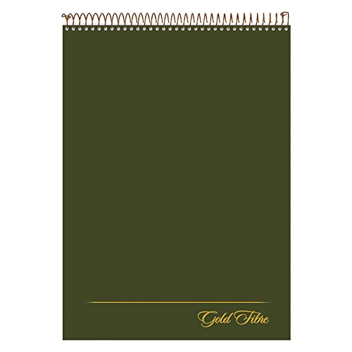 Ampad Gold Fibre Classic, Wirebound Legal Pad, Size 8-1/2 x 11-3/4, Dark Green Cover, Legal Ruling, 70 Sheets per Pad (20-811)