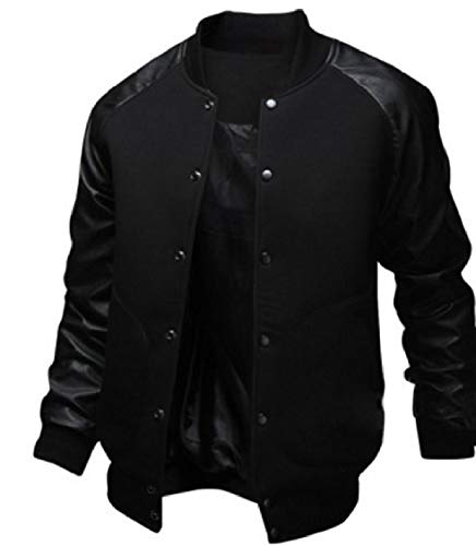 EnergyMen College Luxury Pocketed Black up Patchwork Collar Button Jacket Stand Up rOrqwd8