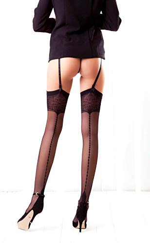 Thigh High Seamed Stockings for Garter Belt Patterned Top Back Seam S M L (M, Black 05)