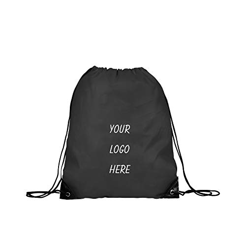 1x Custom Drawstring Backpack Bags Multipurpose Reflective Bulk Pack, Promotional Sport Gym Sack Cinch Bags Sacks Pull String Bag - Black