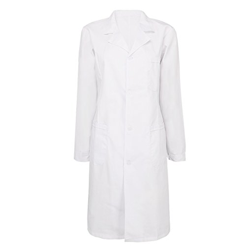 YiZYiF Mens Womens Long Sleeve Lab Coats Medical Doctor Nurse White Long Jacket Womens Small (Long Sleeve Lab Coat)