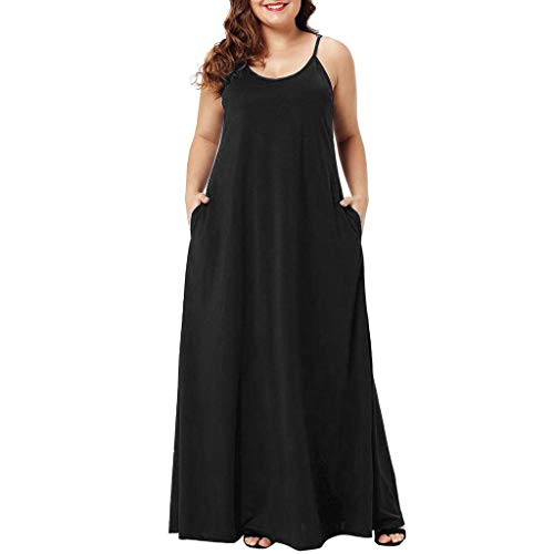 FengGa Womens Loose Dress Summer Casual V Neck Sleeveless Pockets Ankle Length Dress Party Long Sling Dress Black