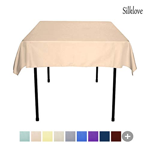 SilkLove Tablecloth - 54 x 54 Inch -Beige-Square Polyester Table Cloth, Wrinkle,Stain Resistant - Great for Buffet Table, Parties, Holiday Dinner & More
