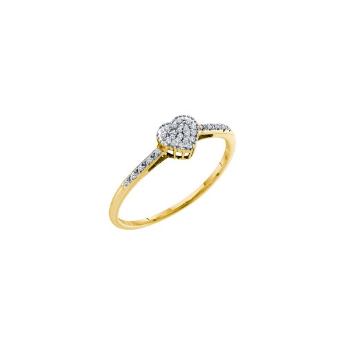 Sonia Jewels Size 9-14k Yellow Gold Round Diamond Slender Heart Cluster Ring 1/12 Cttw