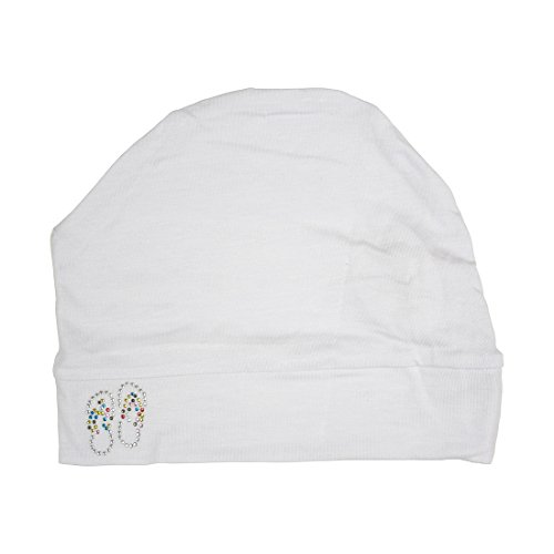 Landana Headscarves Womens Soft Sleep Cap Comfy Cancer Hat with Studded Flip-Flops Applique -White