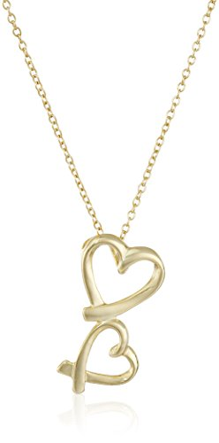 Gold-Plated Sterling Silver Double-Heart Ribbons Pendant Necklace, 16