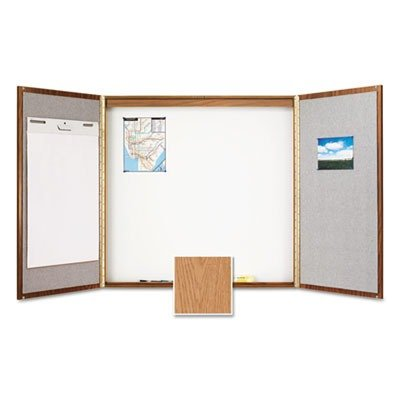 Quartet Laminate Conference Room Cabinet, 4' x 4', Whiteboard/Bulletin Board Interior, Oak Finish (838)