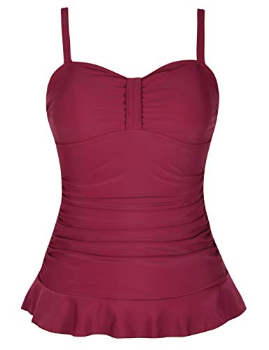 Hilor Women's 50's Retro Ruched Tankini Swimsuit Top with Ruffle Hem Red 6