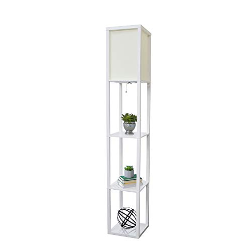 Simple Designs Home LF1014-WHT Etagere Organizer Storage Shelf Linen Shade Floor Lamp, White (White Wood Floor Lamp)