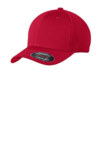 Sport-Tek Men's Flexfit Cool & Dry Poly Block Mesh Cap S/M True Red