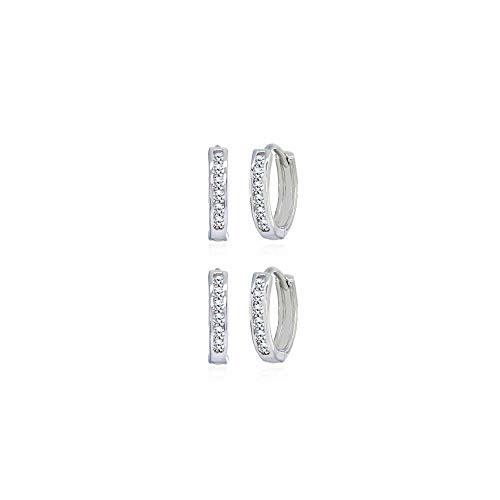 2 Pair Set Sterling Silver Tiny Small 13mm Channel-set Cubic Zirconia Round Huggie Hoop Earrings