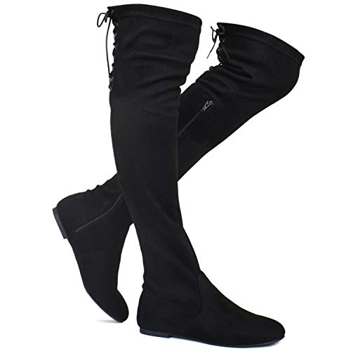 Premier Standard - Women's Fashion Comfy Vegan Suede Side Zipper Over Knee High Boots, TPS Boots-04Eikciv Black Su Size - Suede High Boots Knee Fashion