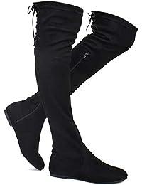 06e855a95 Women s Fashion Comfy Vegan Suede Side Zipper Over Knee High Boots