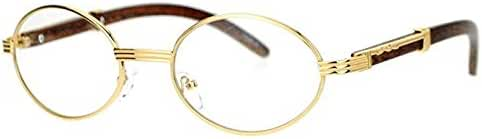 Oval Wood Buffs Unisex clear glasses Oval UV400 Lenses and Gold frame RICH