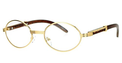 09a1785795a Image Unavailable. Image not available for. Color  Oval Wood Buffs Unisex  clear glasses Oval UV400 Lenses and Gold frame RICH