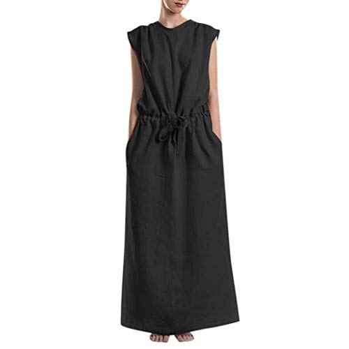 Long Dresses Summer Women's Fashion Pure Colour Round Neck Simple Sleeveless Black ()