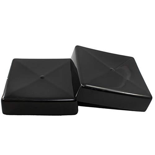 Prescott Plastics 8 Pack: Square Black Vinyl End Cap, Flexible Pipe Post Rubber Cover (4