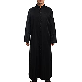 BLESSUME Roman Cassock Robe Liturgical Vestments, Black, X-Large