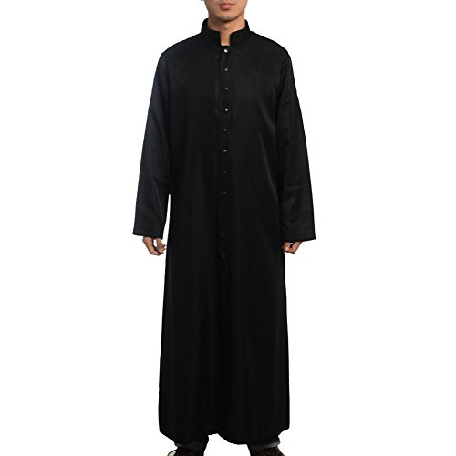 Liturgical Vestments (BLESSUME Roman Cassock Robe Liturgical Vestments, Black, Large)