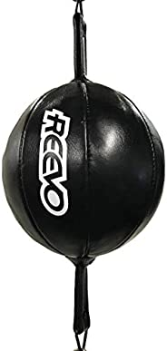 """Reevo Genuine Leather Double End Boxing Punching Bag 8""""x8"""" - Speed Striking & Dodge Training Bal"""