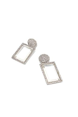 Glamorous Crystal Glass Silver Rectangular Shaped Rhinestone Pendant Earrings ()