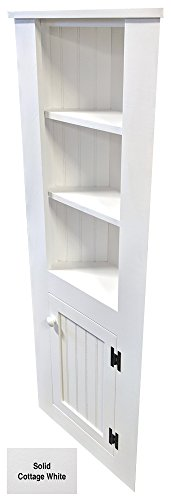 Dining Room Kitchen Hutch - Corner Cabinet (Solid - Cottage White)