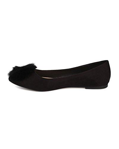 Alrisco Dames Ronde Neus Ballet Flat - Pom Pom Flat - Fuzzy Ballerina Plat - Gi42 Door Zwart Faux Suede